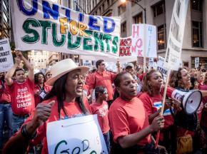 CTU strikers join in a mass rally downtown during the first days of the strike