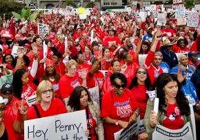 Teachers and their supporters moved from the picket lines to downtown mass rallies