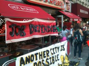 Supporters of workers at Hot & Crusty defend an occupation against union-busting
