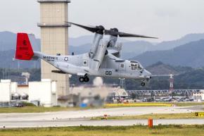 Osprey aircraft deployed by Marines in Okinawa, Japan