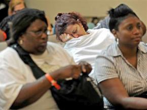 Patients fill the waiting room of the emergency room at Chicago's Stroger Hospital