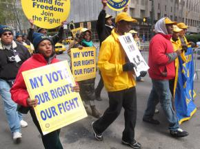 "Protesters march against ""Voter ID"" laws that will impact Black, poor, young and student voters"