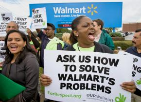 Wal-Mart workers protest outside corporate headquarters in Bentonville, Ark.