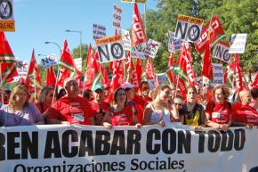 Spanish workers on the march against cuts earlier this fall