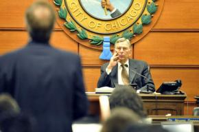 Chicago Board of Education President David Vitale at a board meeting