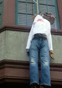 A hate crime hanging from the Theta Delta Chi house at UC Berkeley