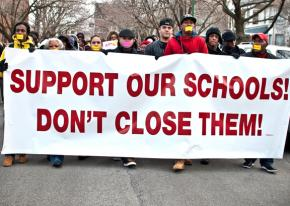 Chicago education justice marching for an end to school closures last spring