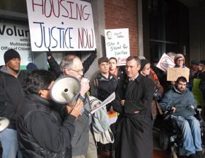 Home defenders speak out following a sit-in at the Multnomah County Sheriff's office