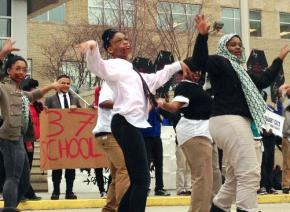 Philadelphia high school students dressed as zombies hold a flashmob protest against closures