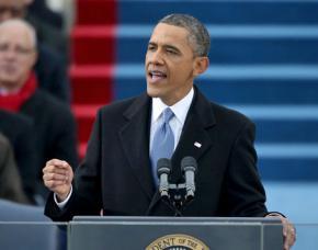 Barack Obama gives his second inaugural address