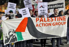 Demonstrators gather to call for boycott, divestment and sanctions against Israel
