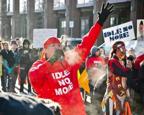 Idle No More protesters on the march in Edmonton