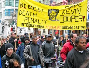 Protesters marching to stop the execution of Kevin Cooper in 2004