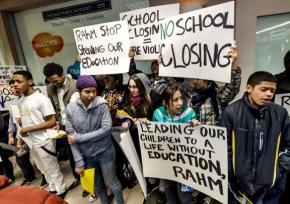 High School students march and rally against threatened school closures in Chicago