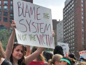 Protesters against victim-blaming at a New York SlutWalk protest in 2011