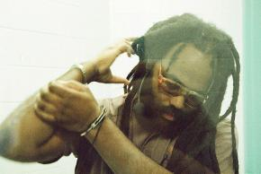 Mumia in an isolated visitation area at the Supermax prison in Waynesburg, Pa.