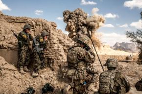 U.S. and Afghan forces blow up a building that they say was a Taliban firing position