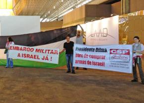 BDS activists protesting at a convention center in Rio de Janeiro