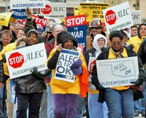 """Labor activists marching in Oklahoma to say """"ALEC is not OK"""""""