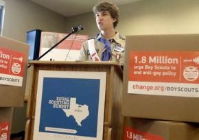 Boy Scout Alex Derr campaigns for the organization to lift its anti-gay ban