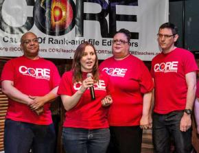 The CORE slate for top offices in the CTU (left to right): Michael Brunson, Kristine Mayle, Karen Lewis and Jesse Sharkey