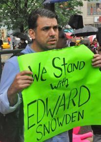 Protesters gathered in New York City to show support for Edward Snowden