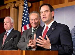 Three senators from the Gang of Eight: (left to right) John McCain, Charles Schumer and Marco Rubio