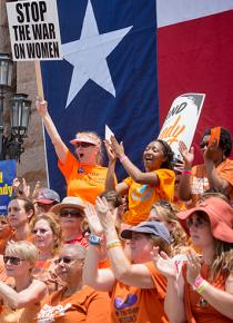Pro-choice protesters gathered outside the Texas state Capitol building