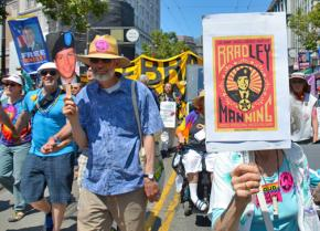 Marchers during San Francisco's Pride celebration called for Bradley Manning's release