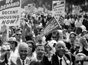 The front ranks of the 1963 March on Washington for Jobs and Freedom