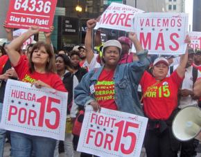 Striking workers march for a living wage and workers organization in Chicago
