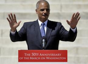 Eric Holder speaking at the March on Washington