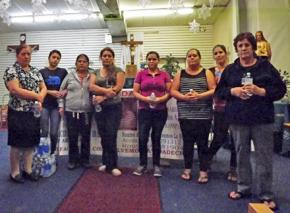 Some of the hunger strikers at the Our Lady of Guadalupe Anglican Catholic Church