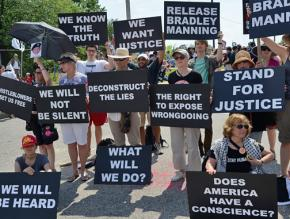 A protest for Chelsea Manning (then known as Bradley Manning) outside Fort Meade