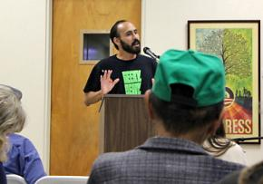 Participants listen to a presentation at the ecosocialism conference in Los Angeles