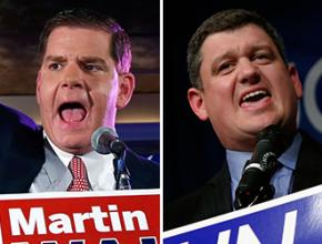 Boston mayoral candidates Martin Walsh and John Connolly