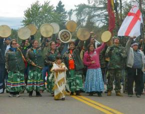 Mi'kmaq tribal members lead a march during their blockade against fracking in New Brunswick