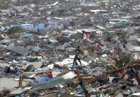 The demolished city of Tacloban following Typhoon Haiyan