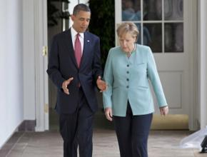 Angela Merkel with Barack Obama on a visit to the White House