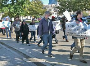 Activists take part in a homeless awareness march in Cincinnati