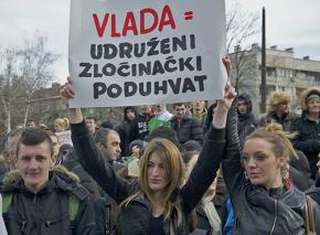 Protesters on the march in Sarajevo