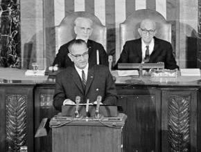 Lyndon Johnson giving the State of the Union address in which he announced the War on Poverty