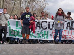 Students on the march during their strike in Madrid