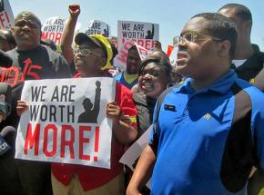 McDonald's workers and their supporters took their struggle to the company's doorstep