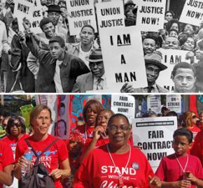 Above: Memphis sanitation workers strike in 1968; below: Chicago teachers strike in 2012