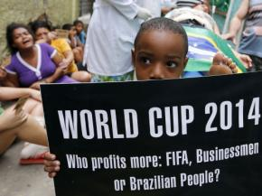 Protesters against the 2014 World Cup dramatize conditions at hospitals in Brazil