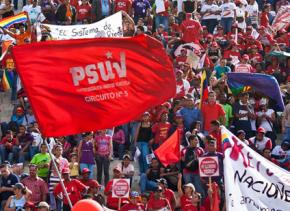 Activists from the PSUV rally in Caracas