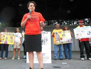 Protesters speak out at the Free Her rally against women's increasing incarceration