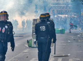 A clash on the street in France between police and Palestine solidarity protesters