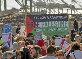 Some 1,500 people marched on the Port of Oakland to stop the unloading of an Israeli-owned ship